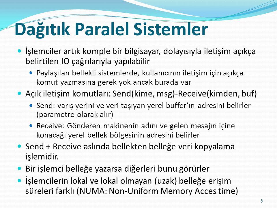 Paralel Sistemlerde İletişim Modelleri 9 Paylaşılan bellek sistemleri (Shared memory): İşlemciler paylaşılan adres alanı üzerinden haberleşir Küçük ölçekli makineler için kolaydır Avantajları: Programlamak kolaydır, Düşük bellek erişim süresi, Ön bellekler üzerinde donanımsal kontrol kolaydır Mesaj geçişli sistemler (Message passing) İşlemcilerin kendi yerel bellekleri var, iletişim mesajlaşma yoluyla yapılıyor Avantajları: Az donanım ve kolay tasarım, Lokal olmayan zaman alıcı işlemlere yoğunlaşılır