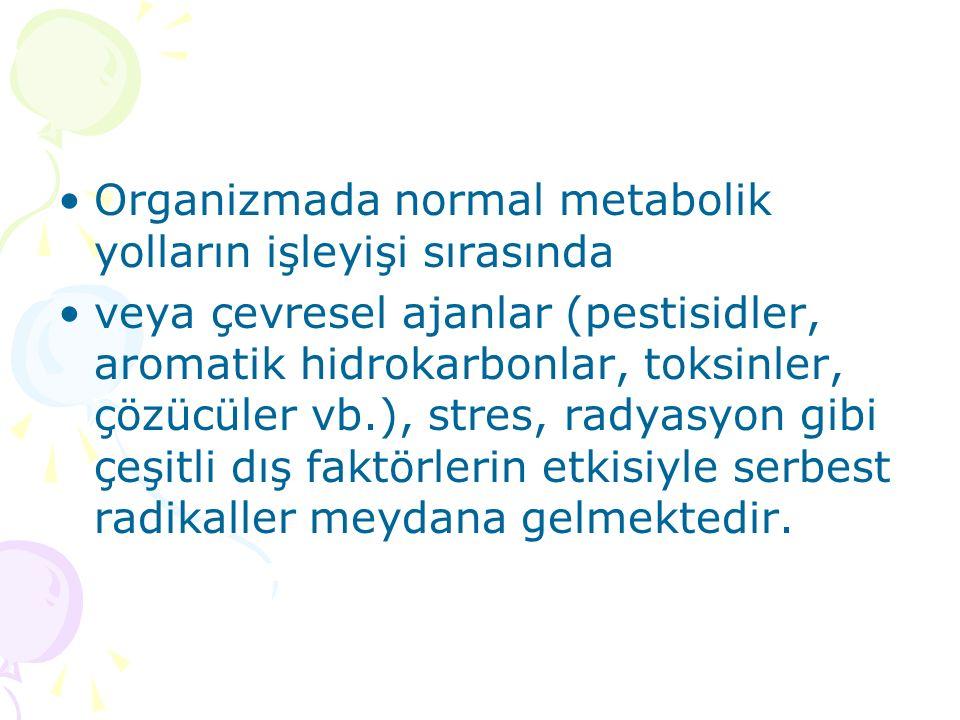Organizmada normal metabolik yolların işleyişi sırasında veya çevresel ajanlar (pestisidler, aromatik hidrokarbonlar, toksinler, çözücüler vb.), stres