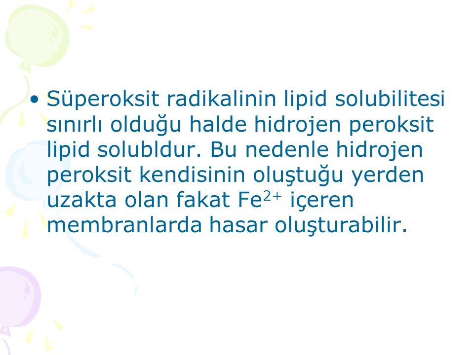 Süperoksit radikalinin lipid solubilitesi sınırlı olduğu halde hidrojen peroksit lipid solubldur. Bu nedenle hidrojen peroksit kendisinin oluştuğu yer
