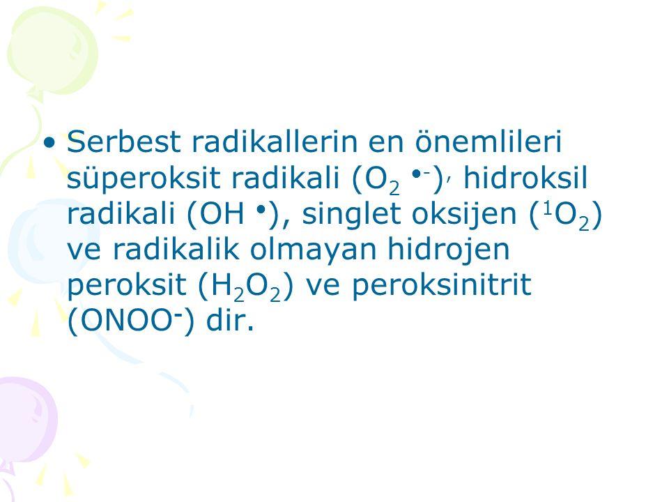 Serbest radikallerin en önemlileri süperoksit radikali (O 2 ●- ), hidroksil radikali (OH ● ), singlet oksijen ( 1 O 2 ) ve radikalik olmayan hidrojen peroksit (H 2 O 2 ) ve peroksinitrit (ONOO - ) dir.