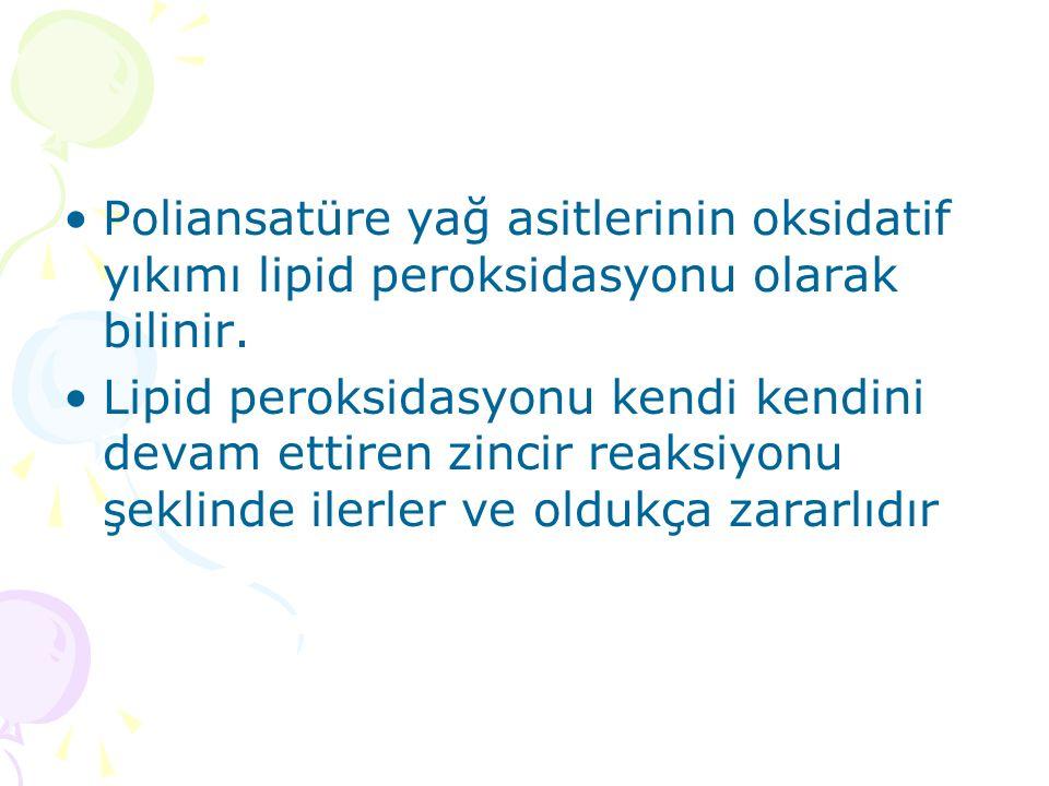 Poliansatüre yağ asitlerinin oksidatif yıkımı lipid peroksidasyonu olarak bilinir. Lipid peroksidasyonu kendi kendini devam ettiren zincir reaksiyonu