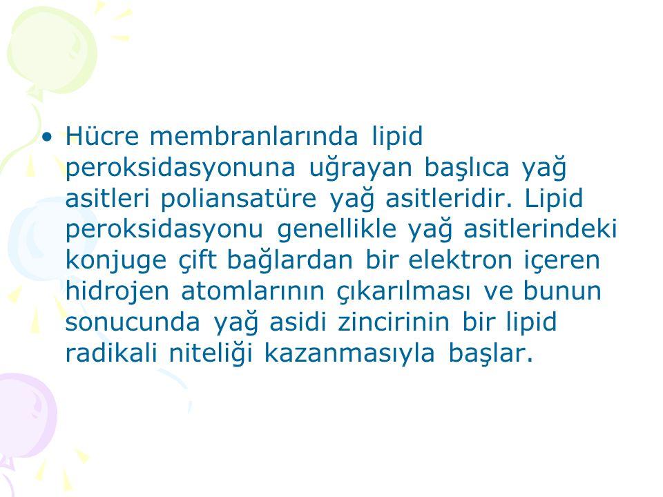 Hücre membranlarında lipid peroksidasyonuna uğrayan başlıca yağ asitleri poliansatüre yağ asitleridir. Lipid peroksidasyonu genellikle yağ asitlerinde