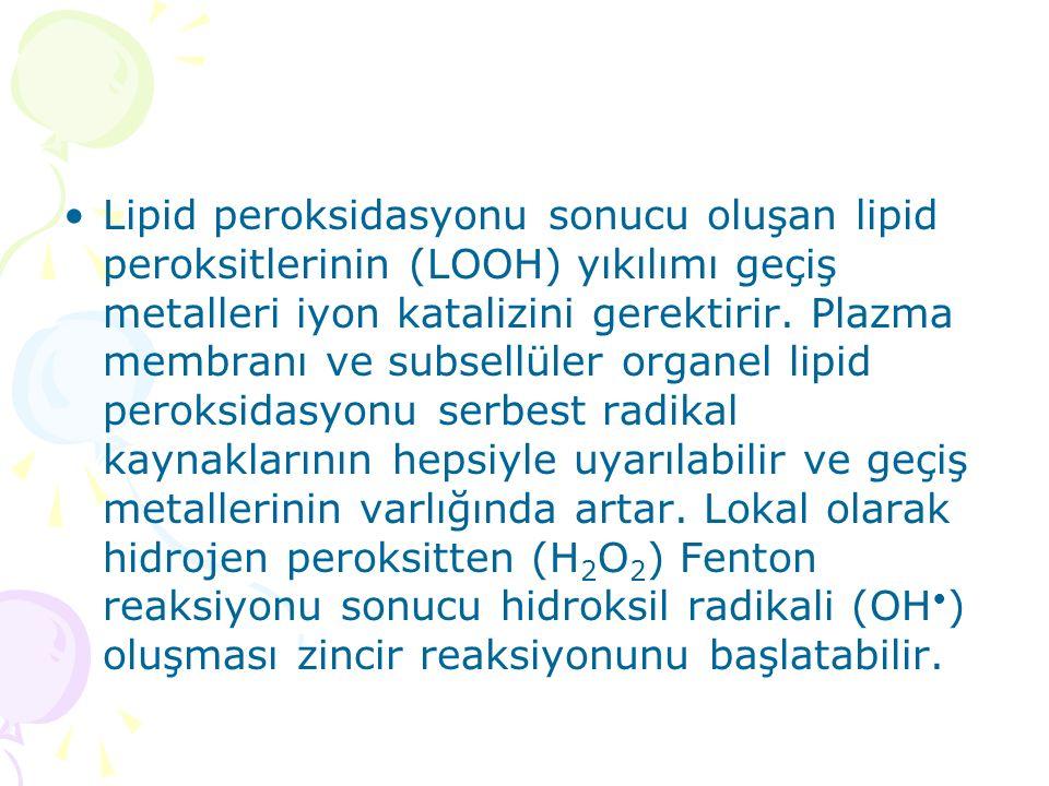 Lipid peroksidasyonu sonucu oluşan lipid peroksitlerinin (LOOH) yıkılımı geçiş metalleri iyon katalizini gerektirir. Plazma membranı ve subsellüler or