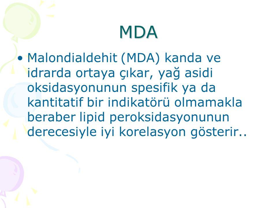 MDA Malondialdehit (MDA) kanda ve idrarda ortaya çıkar, yağ asidi oksidasyonunun spesifik ya da kantitatif bir indikatörü olmamakla beraber lipid peroksidasyonunun derecesiyle iyi korelasyon gösterir..