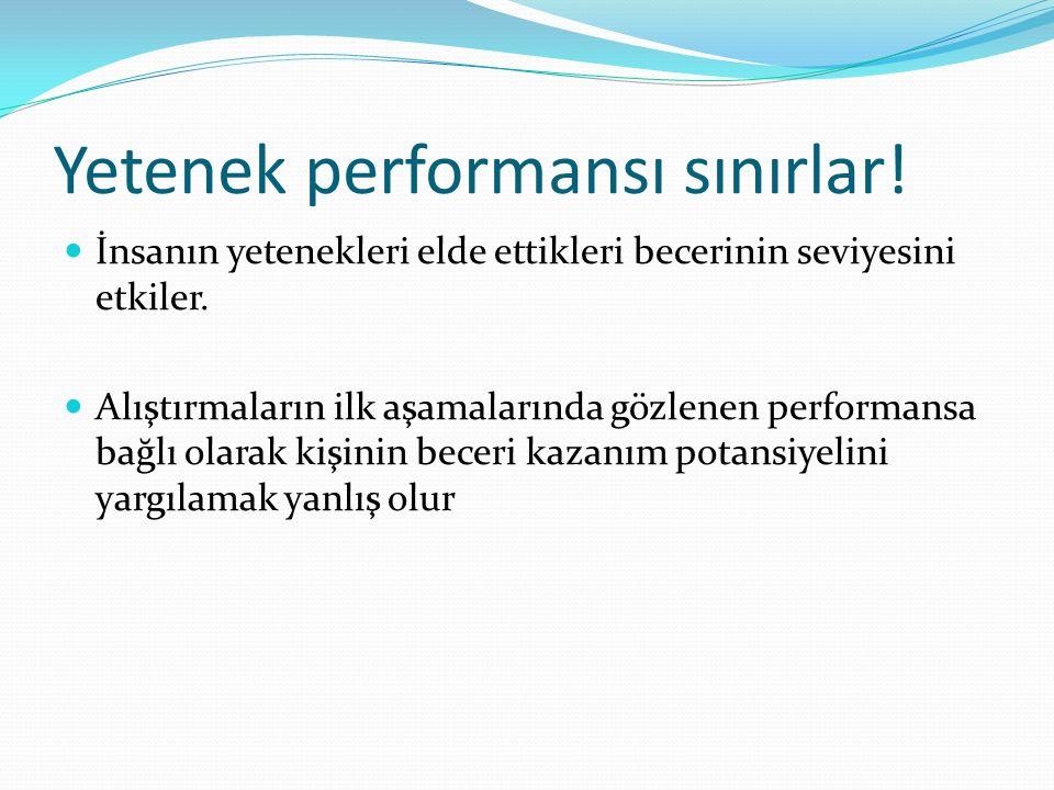 Yetenek performansı sınırlar! İnsanın yetenekleri elde ettikleri becerinin seviyesini etkiler. Alıştırmaların ilk aşamalarında gözlenen performansa ba
