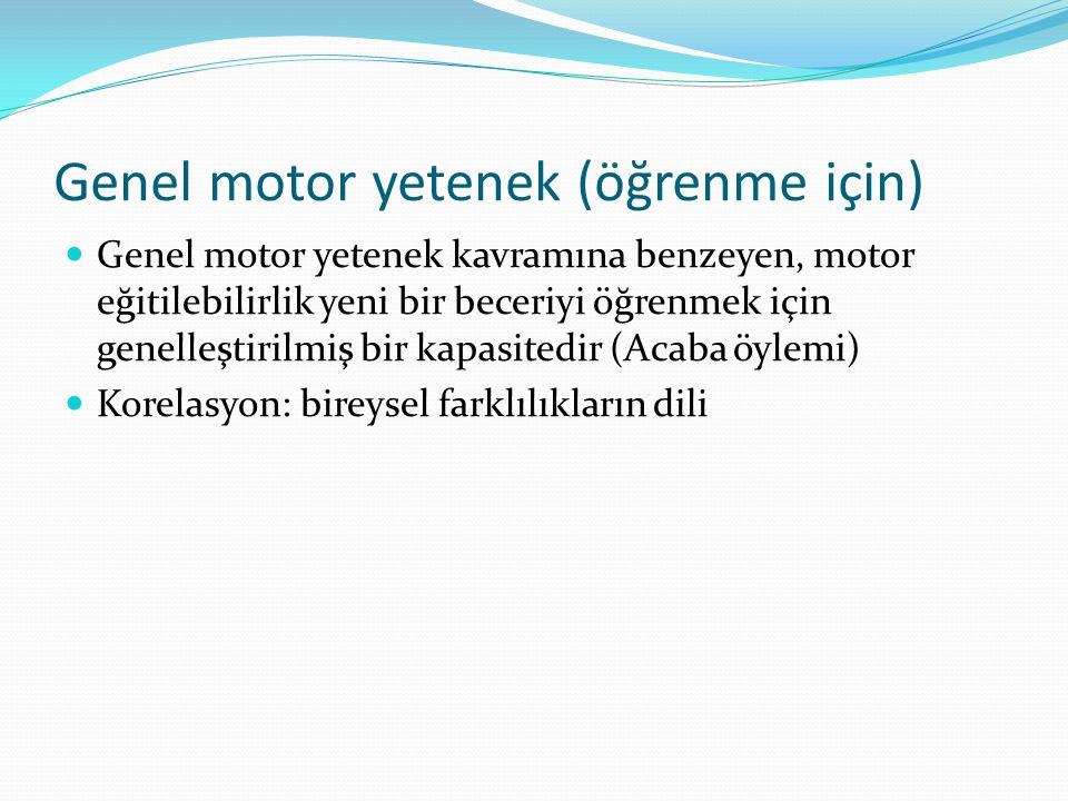 Genel motor yetenek (öğrenme için) Genel motor yetenek kavramına benzeyen, motor eğitilebilirlik yeni bir beceriyi öğrenmek için genelleştirilmiş bir