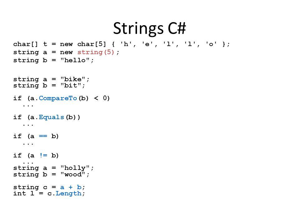 Strings C# char[] t = new char[5] { h , e , l , l , o }; string a = new string(5); string b = hello ; string a = bike ; string b = bit ; if (a.CompareTo(b) < 0)...