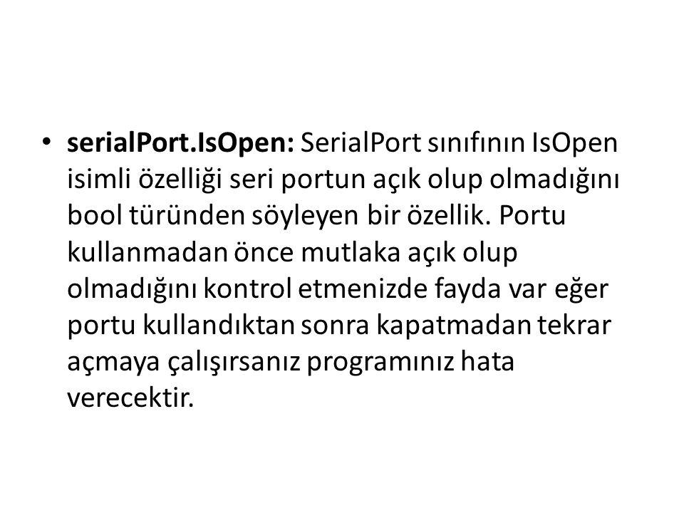 public SerialPort sp; string dataReceived = string.Empty; private delegate void SetTextDeleg(string text); private void FormLoad() { sp = new SerialPort( COM1 , 9600, Parity.None, 8, StopBits.One); this.sp.DataReceived += new SerialDataReceivedEventHandler(sp_DataReceived); sp.Open(); } void sp_DataReceived(object sender, SerialDataReceivedEventArgs e) { try { Thread.Sleep(500); string x = sp.ReadLine(); // enter okuyacak this.BeginInvoke(new SetTextDeleg(si_DataReceived), new object[] { x }); } catch { } } private void si_DataReceived(string data) { dataReceived = data.Trim(); }