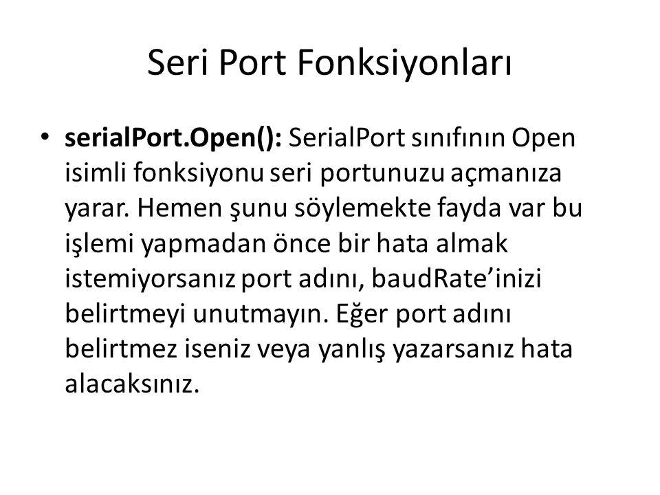 Arduino Seri Port Sayı Okuma void loop() { while (Serial.available() == 0); int val = Serial.parseInt(); //parseFloat Serial.println(val); if (Serial.available()>0) \\ portta veri varsa { int x = Serial.parseInt(); Serial.println(x); }
