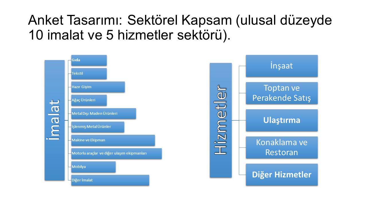 Anket Tasarımı: Sektörel Kapsam (ulusal düzeyde 10 imalat ve 5 hizmetler sektörü).