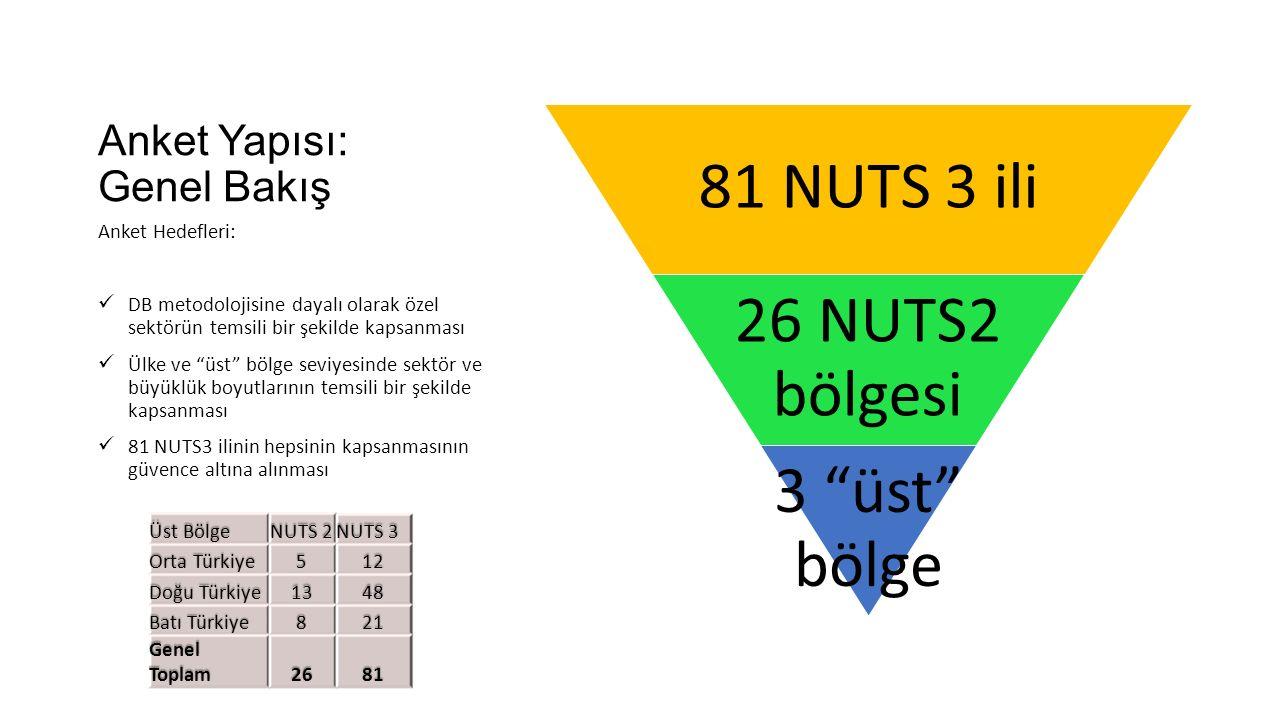 Anket Yapısı: Genel Bakış 81 NUTS 3 ili 26 NUTS2 bölgesi 3 üst bölge Anket Hedefleri: DB metodolojisine dayalı olarak özel sektörün temsili bir şekilde kapsanması Ülke ve üst bölge seviyesinde sektör ve büyüklük boyutlarının temsili bir şekilde kapsanması 81 NUTS3 ilinin hepsinin kapsanmasının güvence altına alınması Üst Bölge NUTS 2 NUTS 3 Orta Türkiye 512 Doğu Türkiye 1348 Batı Türkiye 821 Genel Toplam 2681