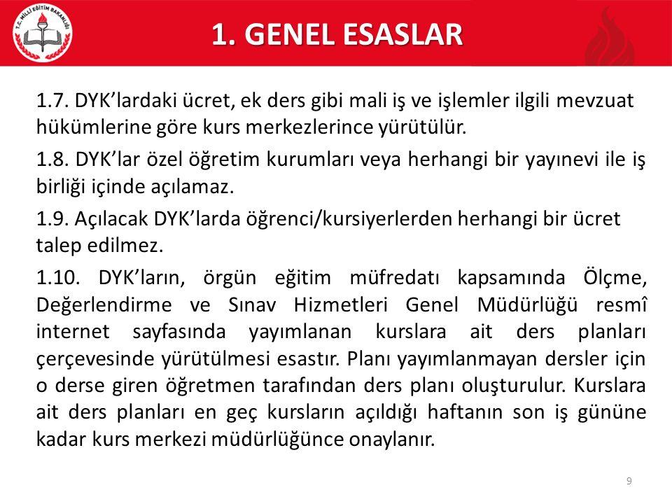 7.KURSLARDA SINIFLARIN OLUŞTURULMASI/SONLANDIRILMASI 7.4.
