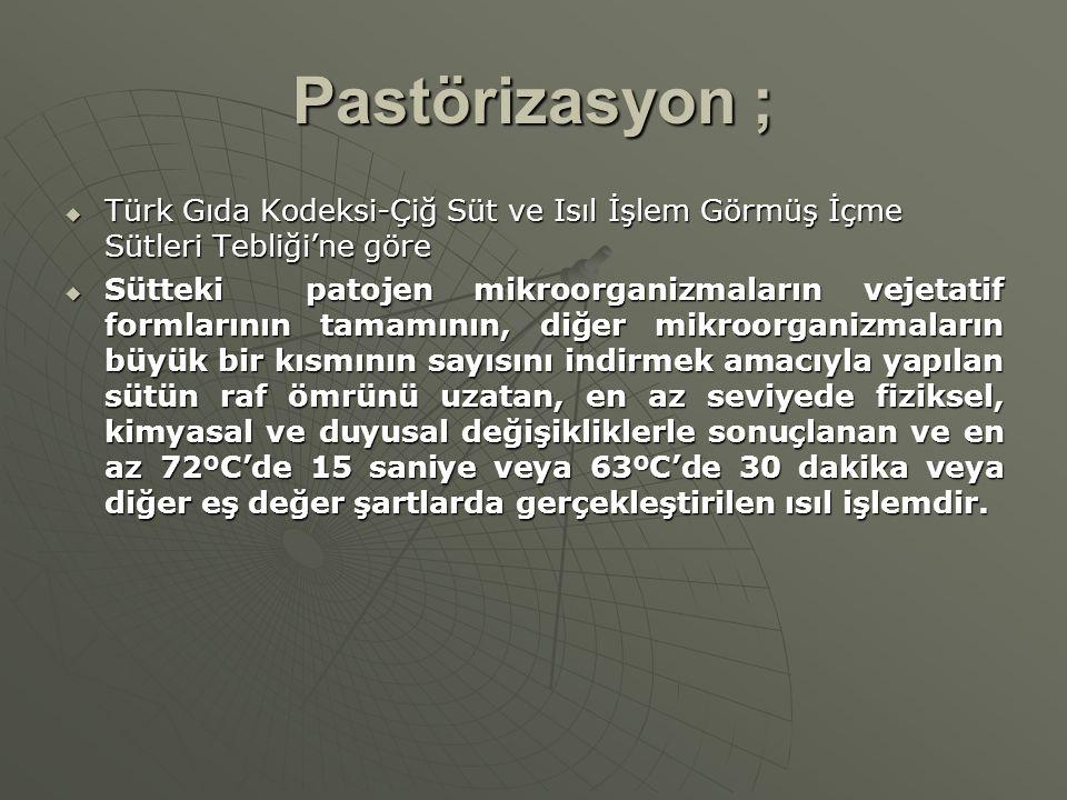 Pastörizasyon ;  Türk Gıda Kodeksi-Çiğ Süt ve Isıl İşlem Görmüş İçme Sütleri Tebliği'ne göre  Sütteki patojen mikroorganizmaların vejetatif formları
