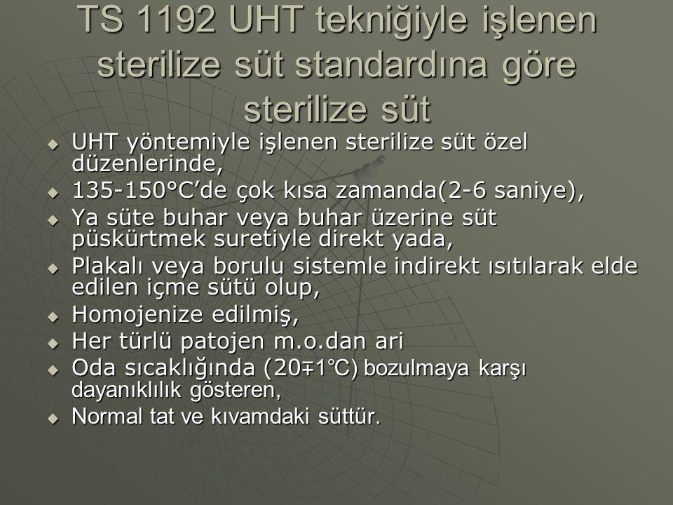 TS 1192 UHT tekniğiyle işlenen sterilize süt standardına göre sterilize süt  UHT yöntemiyle işlenen sterilize süt özel düzenlerinde,  135-150°C'de ç