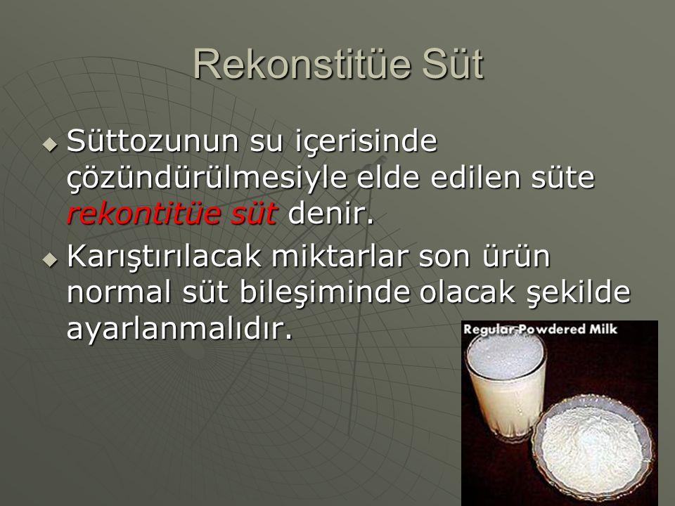 Rekonstitüe Süt  Süttozunun su içerisinde çözündürülmesiyle elde edilen süte rekontitüe süt denir.  Karıştırılacak miktarlar son ürün normal süt bil