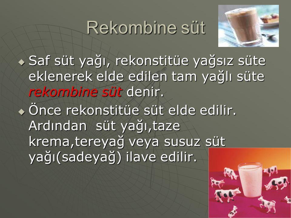 Rekombine süt  Saf süt yağı, rekonstitüe yağsız süte eklenerek elde edilen tam yağlı süte rekombine süt denir.  Önce rekonstitüe süt elde edilir. Ar