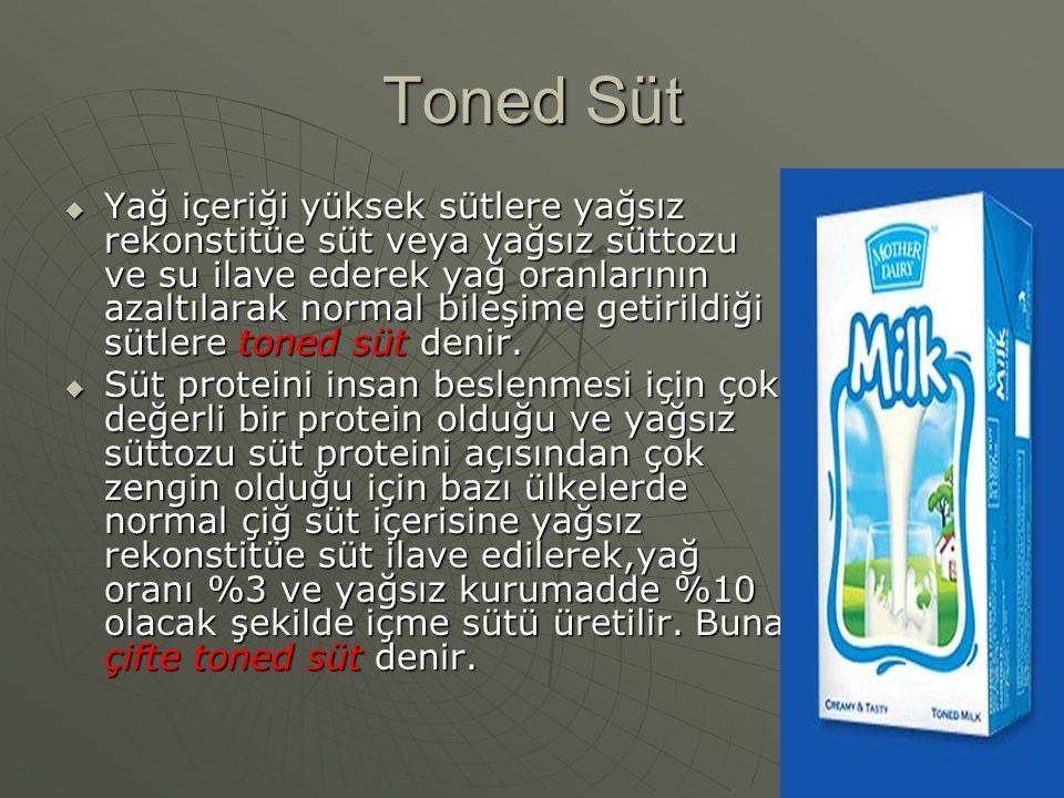 Toned Süt  Yağ içeriği yüksek sütlere yağsız rekonstitüe süt veya yağsız süttozu ve su ilave ederek yağ oranlarının azaltılarak normal bileşime getir
