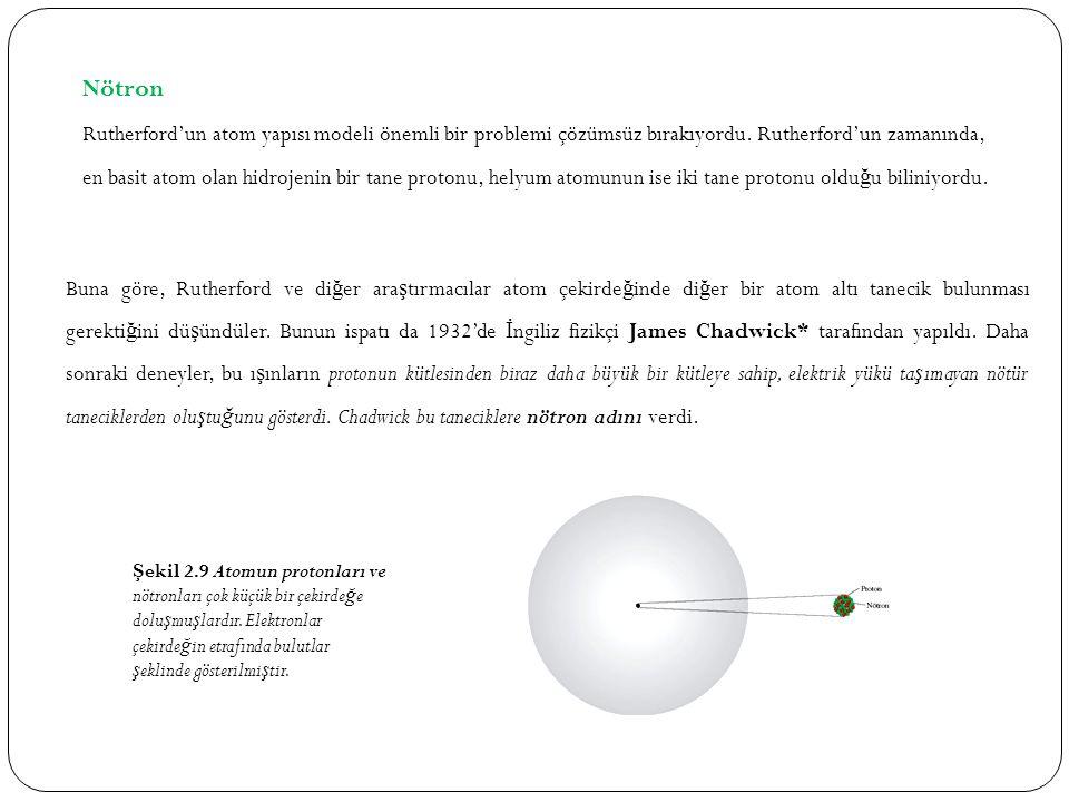 Nötron Rutherford'un atom yapısı modeli önemli bir problemi çözümsüz bırakıyordu. Rutherford'un zamanında, en basit atom olan hidrojenin bir tane prot