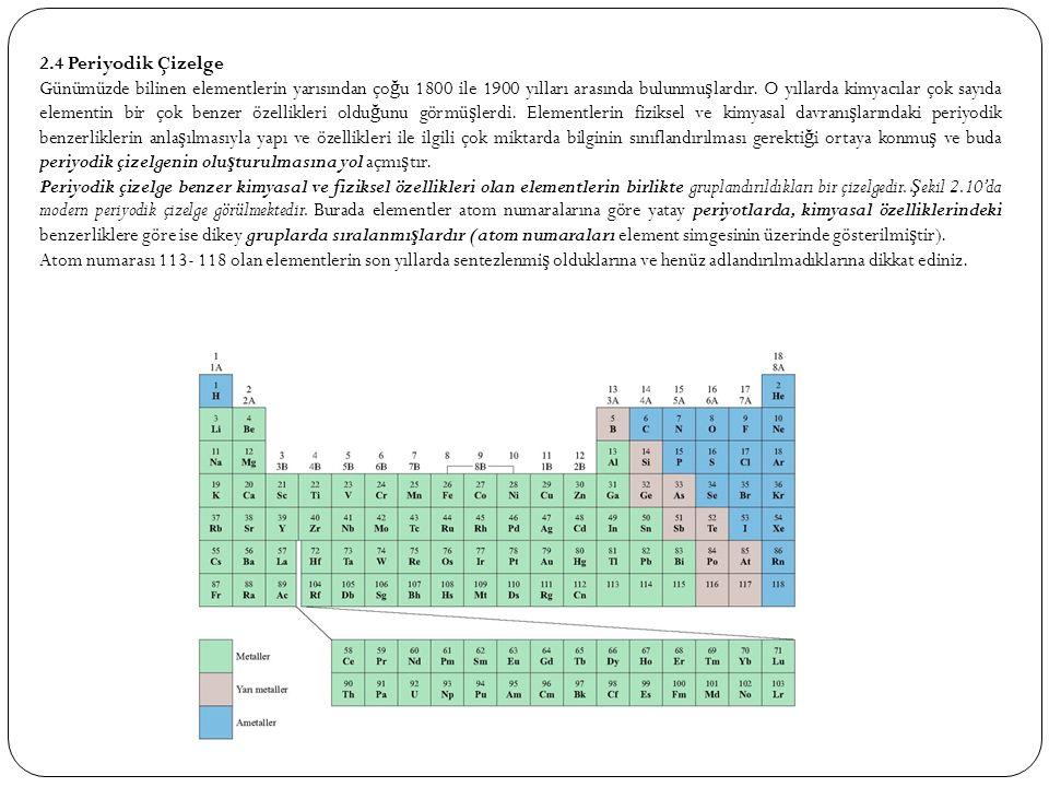 2.4 Periyodik Çizelge Günümüzde bilinen elementlerin yarısından ço ğ u 1800 ile 1900 yılları arasında bulunmu ş lardır. O yıllarda kimyacılar çok sayı
