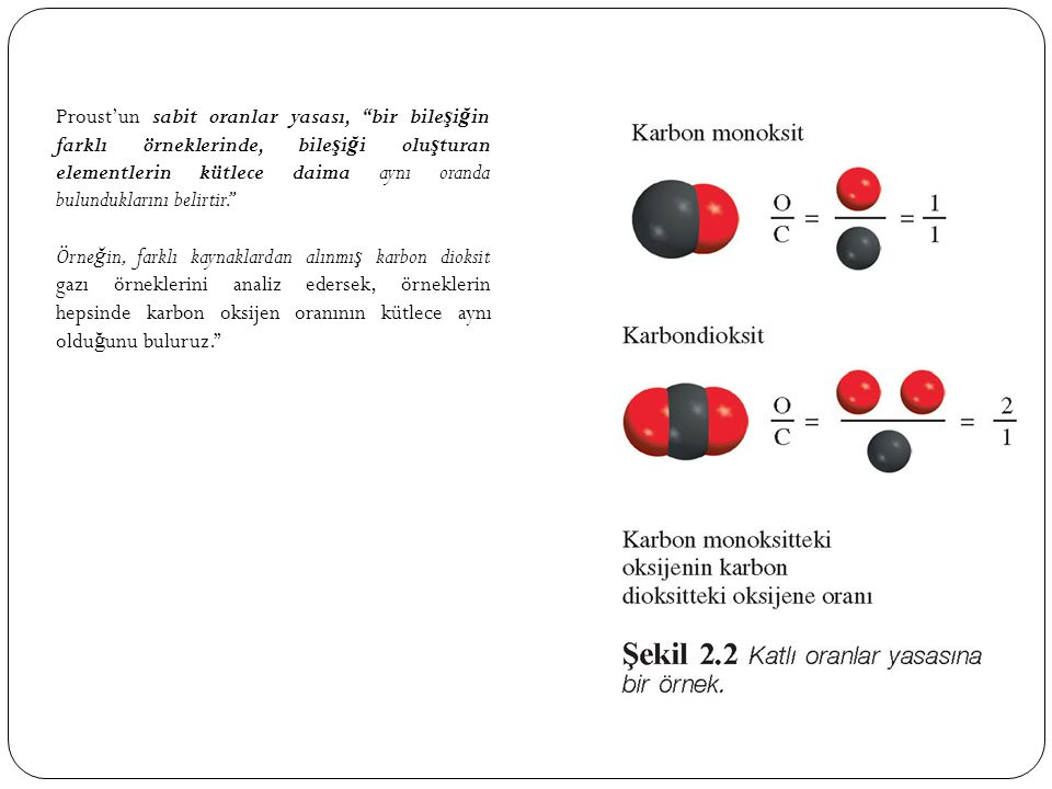 Proust'un sabit oranlar yasası, bir bile ş i ğ in farklı örneklerinde, bile ş i ğ i olu ş turan elementlerin kütlece daima aynı oranda bulunduklarını belirtir. Örne ğ in, farklı kaynaklardan alınmı ş karbon dioksit gazı örneklerini analiz edersek, örneklerin hepsinde karbon oksijen oranının kütlece aynı oldu ğ unu buluruz.