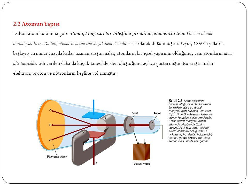2.2 Atomun Yapısı Dalton atom kuramına göre atomu, kimyasal bir bile ş ime girebilen, elementin temel birimi olarak tanımlayabiliriz. Dalton, atomu he