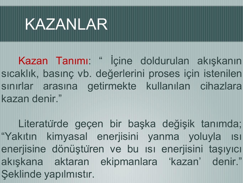 """KAZANLAR Kazan Tanımı: """" İçine doldurulan akışkanın sıcaklık, basınç vb. değerlerini proses için istenilen sınırlar arasına getirmekte kullanılan ciha"""