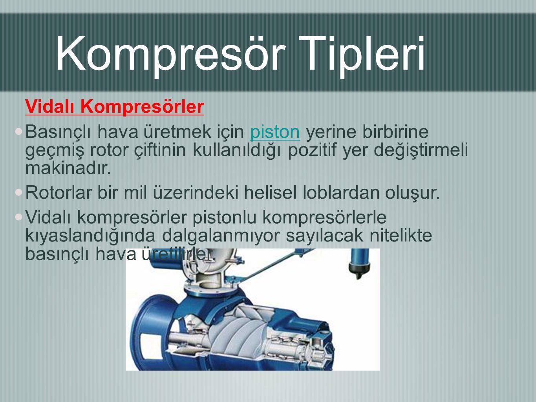 Vidalı Kompresörler Basınçlı hava üretmek için piston yerine birbirine geçmiş rotor çiftinin kullanıldığı pozitif yer değiştirmeli makinadır.piston Rotorlar bir mil üzerindeki helisel loblardan oluşur.
