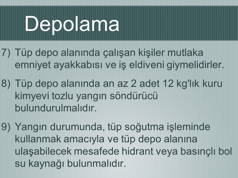 Depolama 7)Tüp depo alanında çalışan kişiler mutlaka emniyet ayakkabısı ve iş eldiveni giymelidirler. 8)Tüp depo alanında an az 2 adet 12 kg'lık kuru