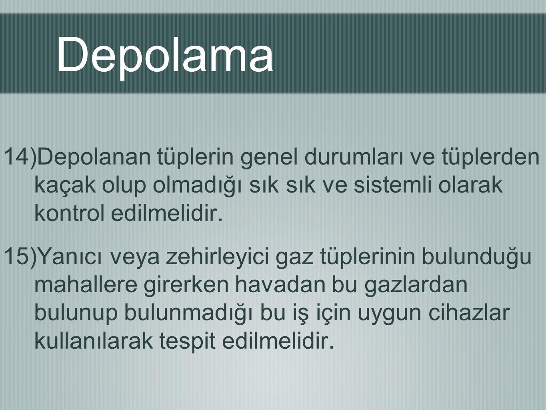Depolama 14)Depolanan tüplerin genel durumları ve tüplerden kaçak olup olmadığı sık sık ve sistemli olarak kontrol edilmelidir. 15)Yanıcı veya zehirle