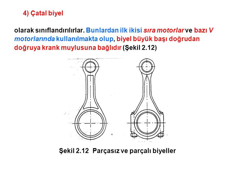 Biyel büyük başı çok silindirli motorlarda genellikle parçalı yapılır.