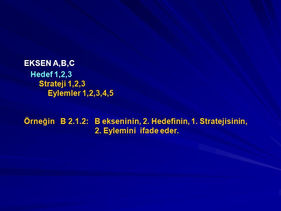EKSEN A,B,C Hedef 1,2,3 Strateji 1,2,3 Eylemler 1,2,3,4,5 Örneğin B 2.1.2: B ekseninin, 2. Hedefinin, 1. Stratejisinin, 2. Eylemini ifade eder.