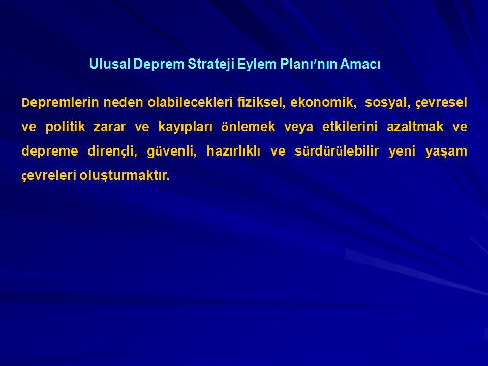 Ulusal Deprem Stratejisi ve Eylem Planı'nın (UDSEP) Hedef, Strateji ve Eylemleri üç ana EKSEN'de guruplandırılmıştır.
