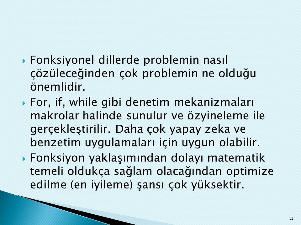  Fonksiyonel dillerde problemin nasıl çözüleceğinden çok problemin ne olduğu önemlidir.  For, if, while gibi denetim mekanizmaları makrolar halinde