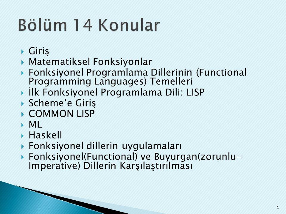  Giriş  Matematiksel Fonksiyonlar  Fonksiyonel Programlama Dillerinin (Functional Programming Languages) Temelleri  İlk Fonksiyonel Programlama Di