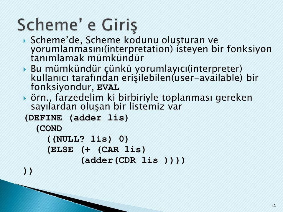  Scheme'de, Scheme kodunu oluşturan ve yorumlanmasını(interpretation) isteyen bir fonksiyon tanımlamak mümkündür  Bu mümkündür çünkü yorumlayıcı(int