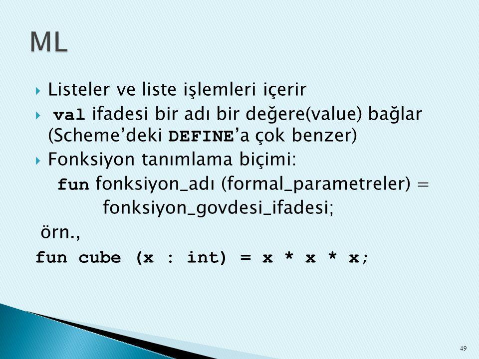  Listeler ve liste işlemleri içerir  val ifadesi bir adı bir değere(value) bağlar (Scheme'deki DEFINE 'a çok benzer)  Fonksiyon tanımlama biçimi: f