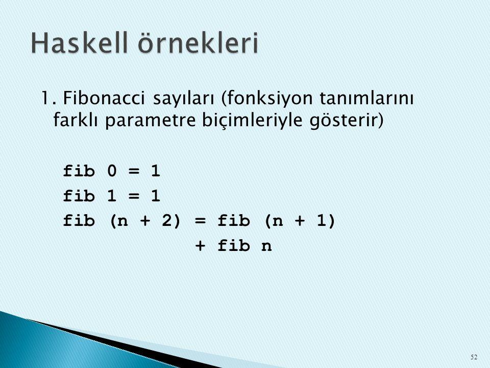 1. Fibonacci sayıları (fonksiyon tanımlarını farklı parametre biçimleriyle gösterir) fib 0 = 1 fib 1 = 1 fib (n + 2) = fib (n + 1) + fib n 52