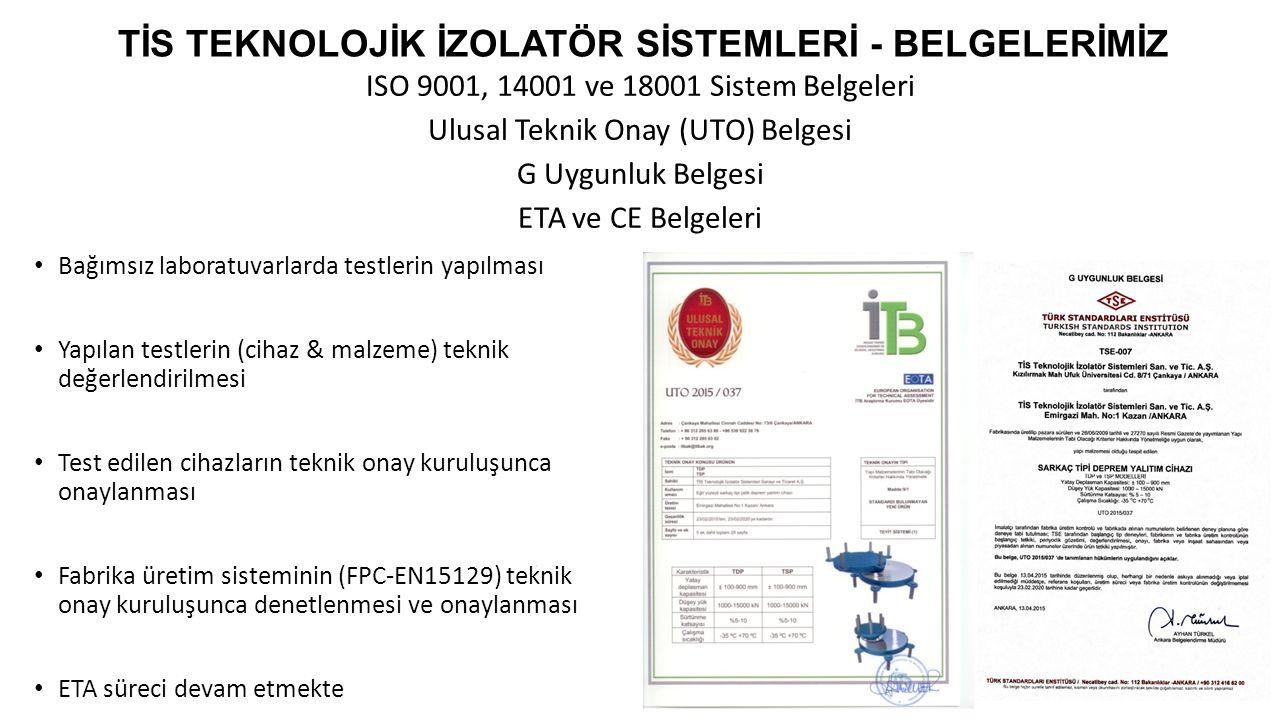 ISO 9001, 14001 ve 18001 Sistem Belgeleri Ulusal Teknik Onay (UTO) Belgesi G Uygunluk Belgesi ETA ve CE Belgeleri TİS TEKNOLOJİK İZOLATÖR SİSTEMLERİ -