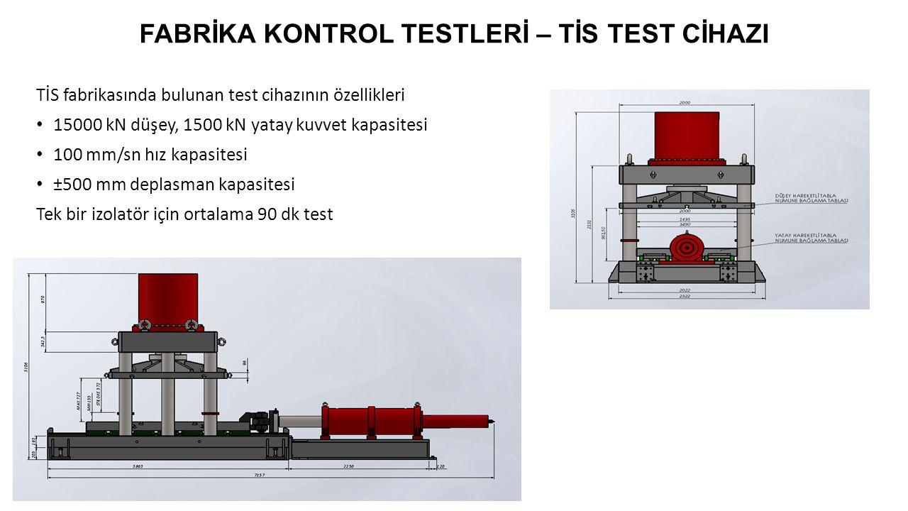 FABRİKA KONTROL TESTLERİ – TİS TEST CİHAZI Test Cihazının Kapasitelerine Karar Verilmesi: 15000 kN düşey yük kapasitesi  Tasarım yükü 7500 kN olan izolatör  Kullanılacak cihazların büyük kısmını kapsıyor 100 mm/sn hız kapasitesi  Testlerde en fazla 50 mm/sn  EN 15129 dışında dinamik testler için ±500 mm deplasman kapasitesi  Maksimum izolatör deplasmanı  Projelerin çok büyük kısmında yeterli olacak Maliyetin kapasitelere göre değişimi