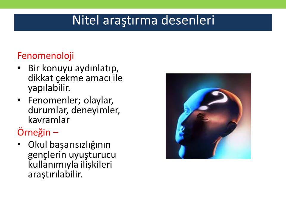 Nitel araştırma desenleri Fenomenoloji Bir konuyu aydınlatıp, dikkat çekme amacı ile yapılabilir. Fenomenler; olaylar, durumlar, deneyimler, kavramlar