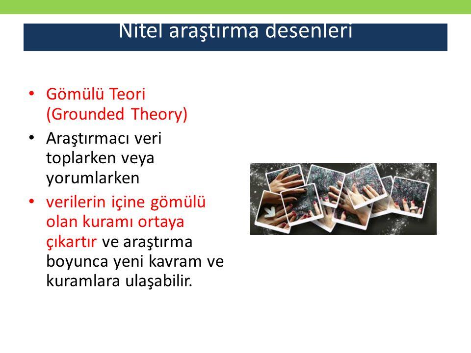 Nitel araştırma desenleri Gömülü Teori (Grounded Theory) Araştırmacı veri toplarken veya yorumlarken verilerin içine gömülü olan kuramı ortaya çıkartı