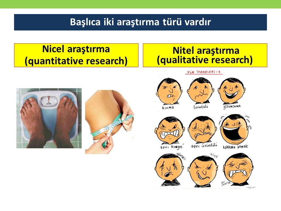 Başlıca iki araştırma türü vardır Nicel araştırma (quantitative research) Nitel araştırma (qualitative research)