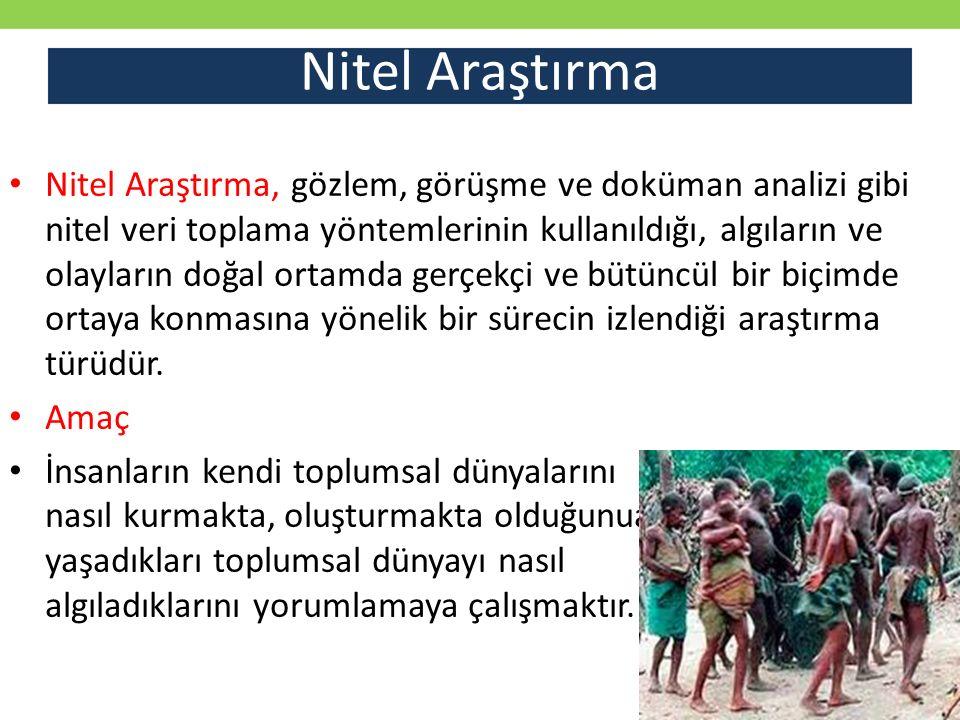 Nitel araştırma desenleri Etnografi Bir topluluğun, bir kültür grubunun gelenekleri, inançları ve birbiriyle bağlantılarını doğal ortamda inceleme (descriptive studies)
