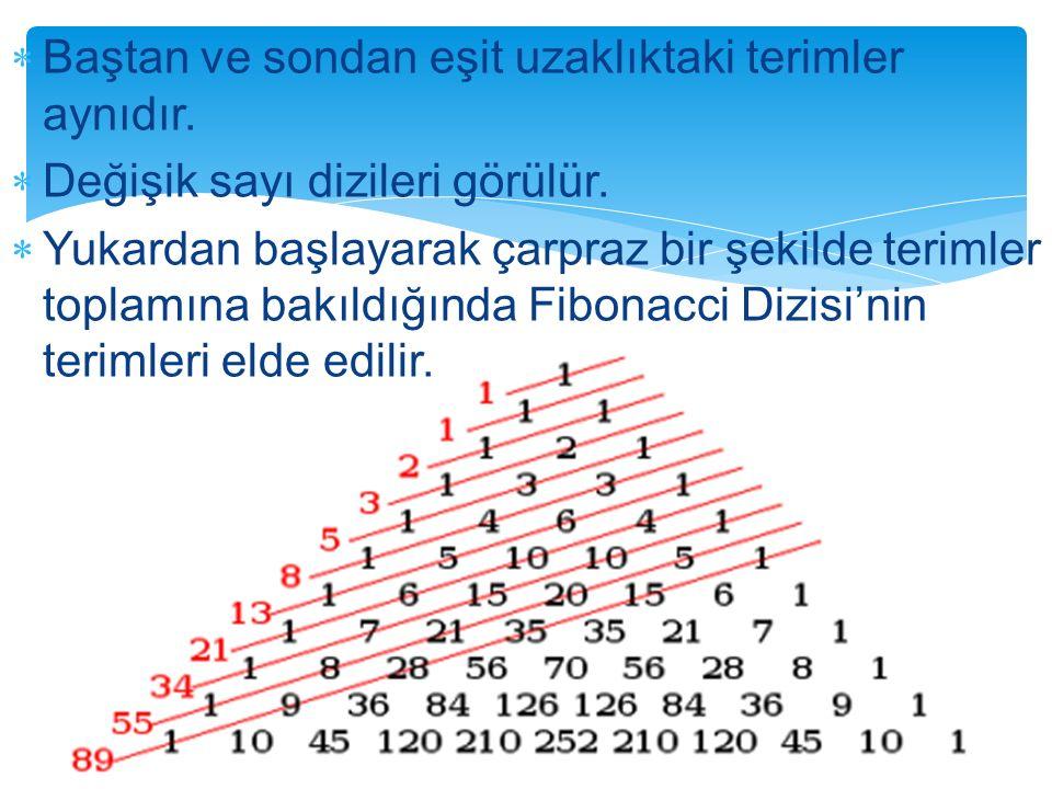  Baştan ve sondan eşit uzaklıktaki terimler aynıdır.  Değişik sayı dizileri görülür.  Yukardan başlayarak çarpraz bir şekilde terimler toplamına ba