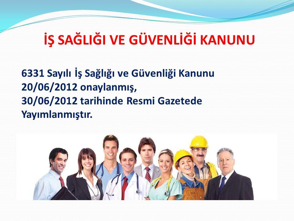 İşyerlerinde iş sağlığı ve güvenliğinin sağlanması ve mevcut sağlık ve güvenlik şartlarının iyileştirilmesi için işveren ve çalışanların : görev, yetki, sorumluluk, hak ve yükümlülüklerini düzenlemektir.