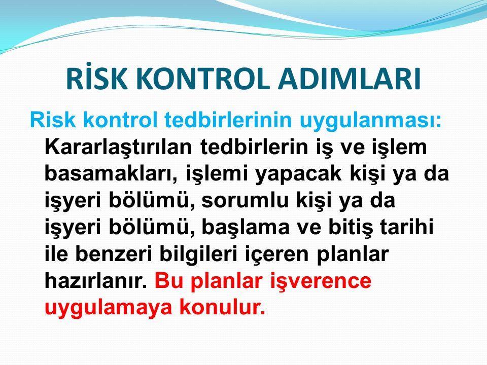 RİSK KONTROL ADIMLARI Risk kontrol tedbirlerinin uygulanması: Kararlaştırılan tedbirlerin iş ve işlem basamakları, işlemi yapacak kişi ya da işyeri bö