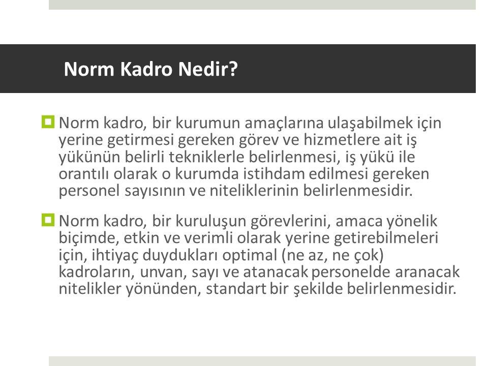 Norm Kadro Nedir?  Norm kadro, bir kurumun amaçlarına ulaşabilmek için yerine getirmesi gereken görev ve hizmetlere ait iş yükünün belirli tekniklerl
