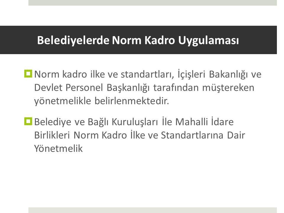 Belediyelerde Norm Kadro Uygulaması  Norm kadro ilke ve standartları, İçişleri Bakanlığı ve Devlet Personel Başkanlığı tarafından müştereken yönetmel