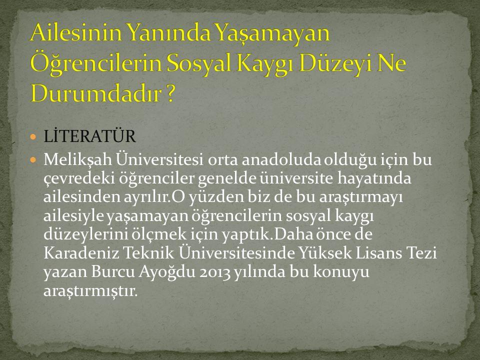 LİTERATÜR Melikşah Üniversitesi orta anadoluda olduğu için bu çevredeki öğrenciler genelde üniversite hayatında ailesinden ayrılır.O yüzden biz de bu araştırmayı ailesiyle yaşamayan öğrencilerin sosyal kaygı düzeylerini ölçmek için yaptık.Daha önce de Karadeniz Teknik Üniversitesinde Yüksek Lisans Tezi yazan Burcu Ayoğdu 2013 yılında bu konuyu araştırmıştır.