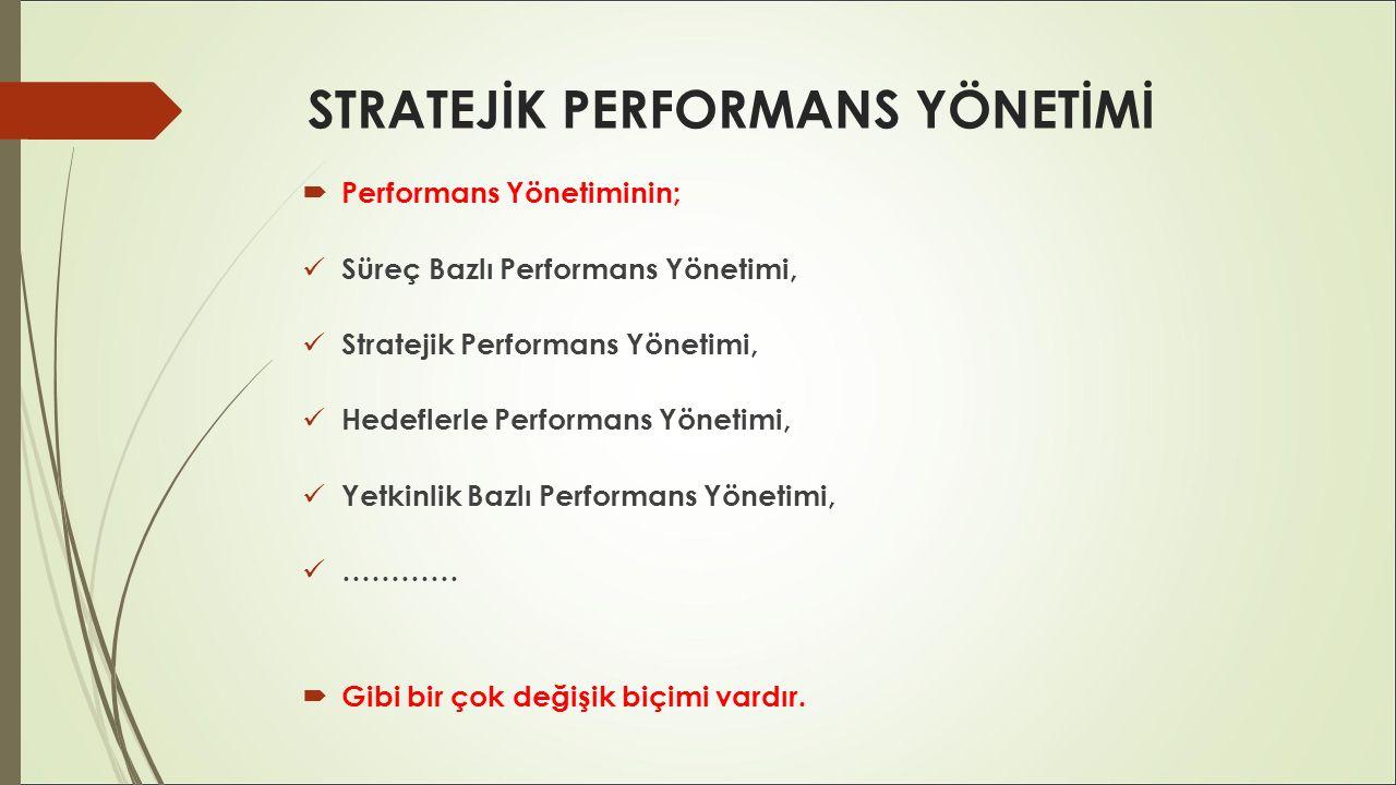 STRATEJİK PERFORMANS YÖNETİMİ  Performans Yönetiminin; Süreç Bazlı Performans Yönetimi, Stratejik Performans Yönetimi, Hedeflerle Performans Yönetimi